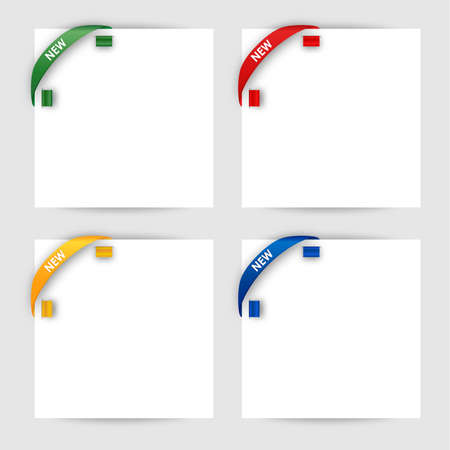 New corner ribbon on a white paper  Stock Vector - 18284645