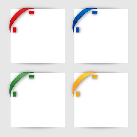 Color corner ribbon on a white paper Stock Vector - 18353498