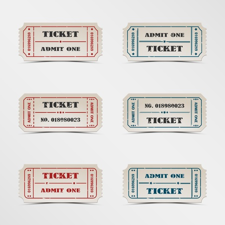 Collection vintage ticket vector eps 10 Stock Vector - 18957944