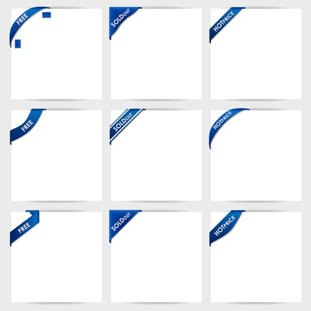 Collection of blue corner ribbons free,sold out,hot price  Illustration