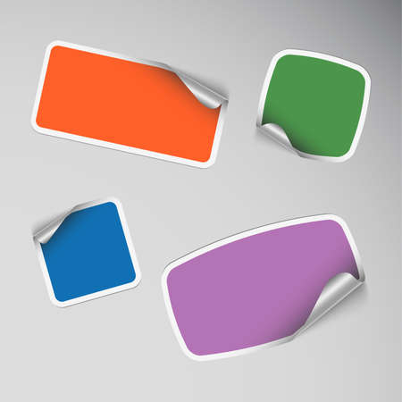 Set of colored blank rectangle stickers vector