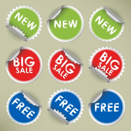 Set of colored round stickers vector eps 10 Illustration