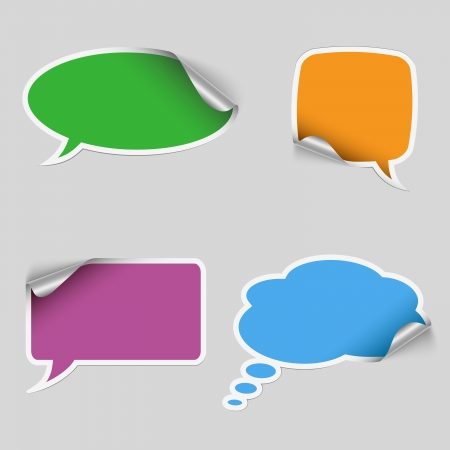 Colorful stickers dialog bubble vector Illustration