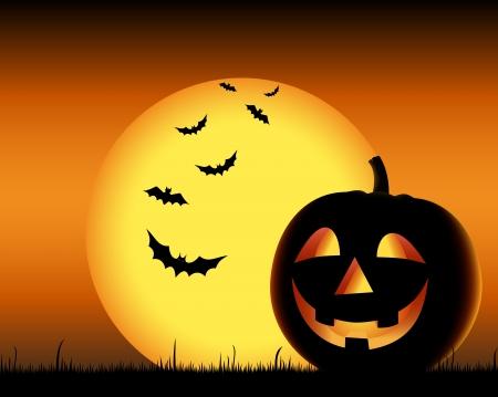 Grinning pumpkin with bats on backgound halloween  Ilustração