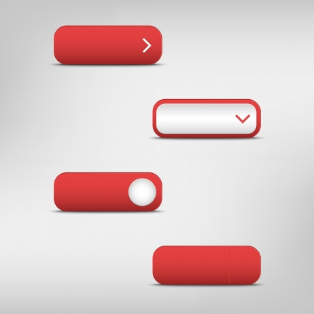 Red empty rectangular buttons Stock Vector - 21423729