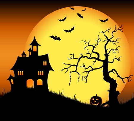 Halloween haunted castle with bats and tree Stock Vector - 21423744