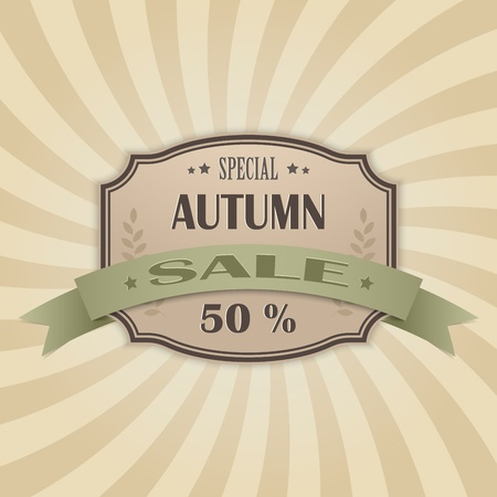 Retro autumn sale background Stock Vector - 21423745