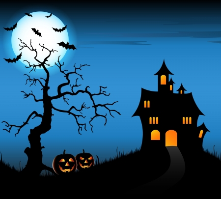 halloween bats: Halloween night background with castle and pumpkins vector eps 10