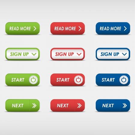 色付きの長方形のボタンのセット