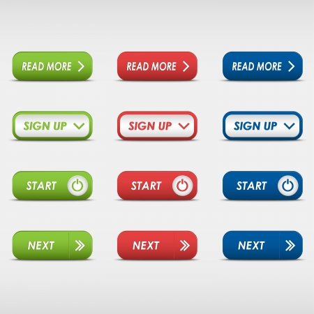 sign up button: Set of colored rectangular buttons