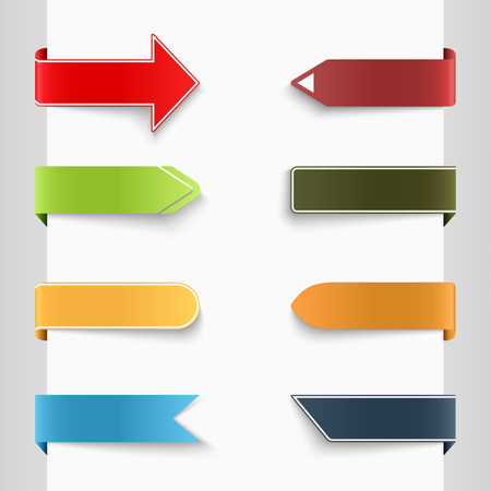 Color set of bent paper tags  Vector