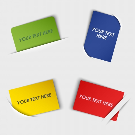 Set of colorful rectangular labels in your pocket