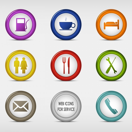 Set of colored round web icons for service vector eps 10