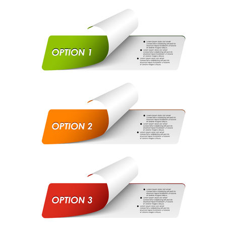 Set of colorful sample options stickers vector eps 10 Illustration