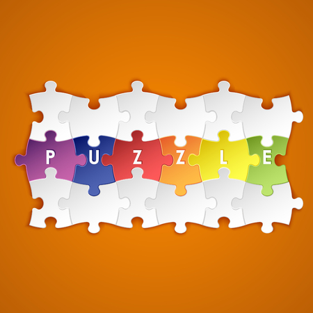Abstract colored group puzzle background Illustration