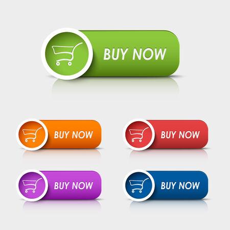 Botones de la tela de colores rectangulares comprar ahora vectorial eps 10 Foto de archivo - 27447742