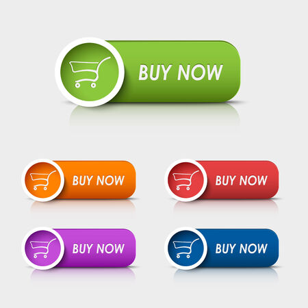 web buttons: Colored rectangular web buttons buy now vector eps 10