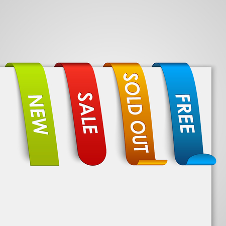 Set of colored paper web tags vector eps 10 Vector