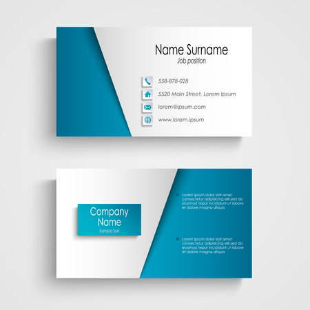 business cards: Modern light blue business card template vector eps 10