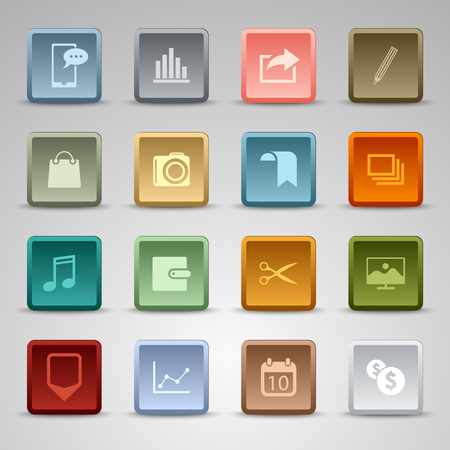 wed: Colored set square wed buttons template vector eps 10
