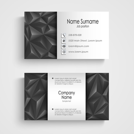 atypical: Modern triangle gray business card template vector eps 10