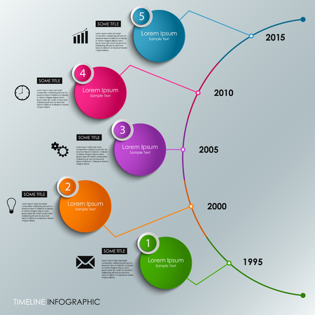 time: Abstract infographic timeline colored round element template vector eps 10