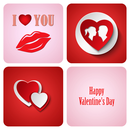 atypical: Valentine red decoration card made from white paper vector eps 10 Illustration