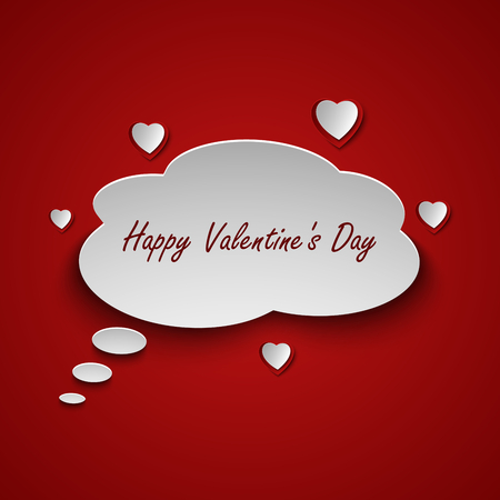 dialog bubble: Valentines card with dialog bubble and hearts vector eps 10