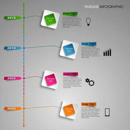 time line: Time line info graphic colored square light template vector eps 10 Illustration