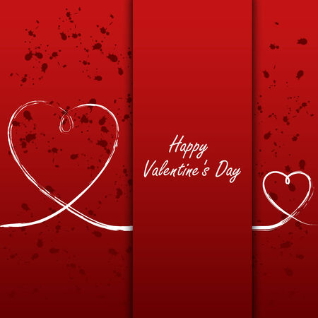 atypical: Valentines card with white hearts on abstract background Illustration