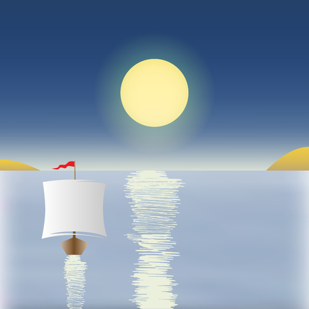 gulf: Sunrise with a boat in the background vector
