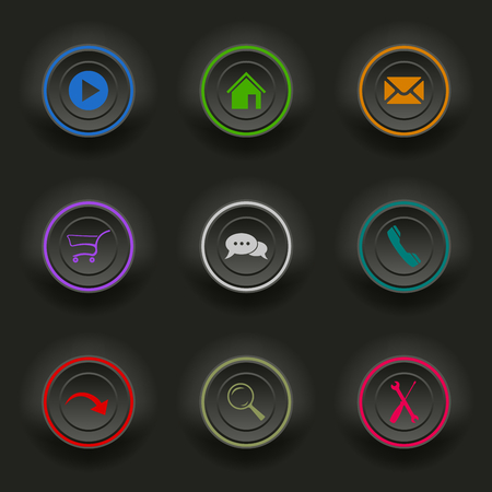 atypical: Colored set dark round buttons for web template vector eps 10 Illustration
