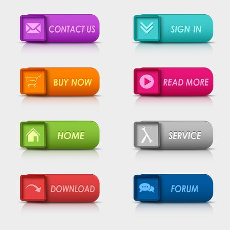 atypical: Colored set rectangular square web buttons element vector Illustration