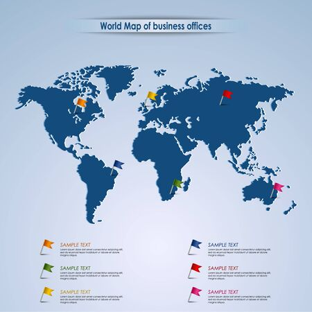 World map of business offices template vector