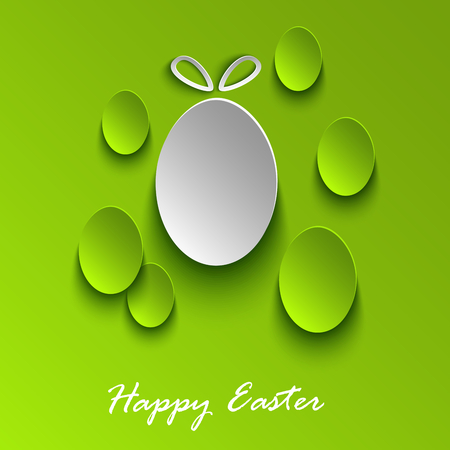 atypical: Easter greeting card with abstract green eggs vector.