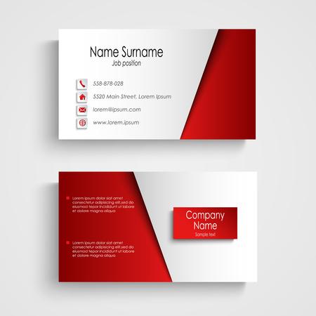 モダンな光赤い名刺テンプレート ベクトル。  イラスト・ベクター素材
