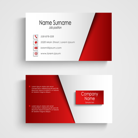 Modern light red business card template vector.