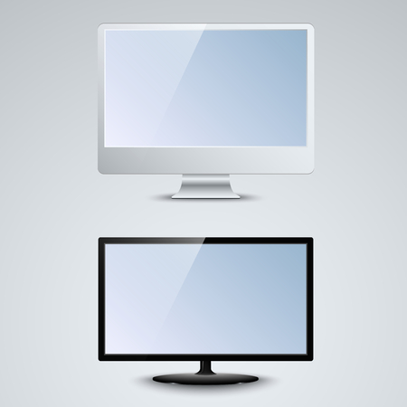 lcd monitor: White and black LCD monitor template vector.