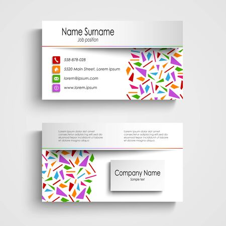 atypical: Modern white business card with colored shards vector
