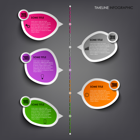 graphic presentation: Time line info graphic with colored stickers template vector