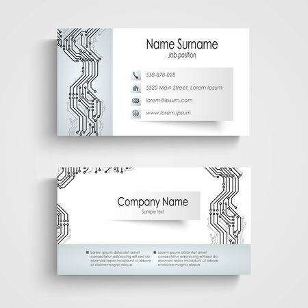 atypical: Modern business card with printed circuit board vector