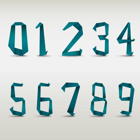 Folded blue paper numbers template vector eps 10