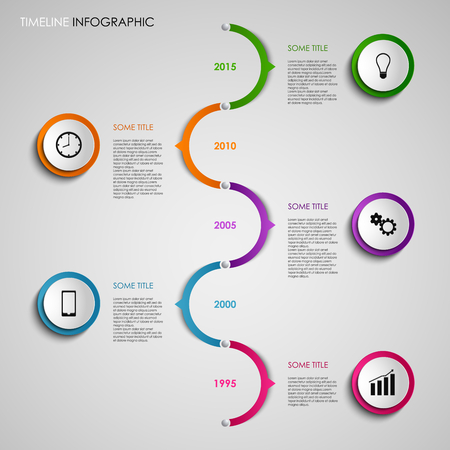 time line: Time line info graphic colored round design template vector eps 10