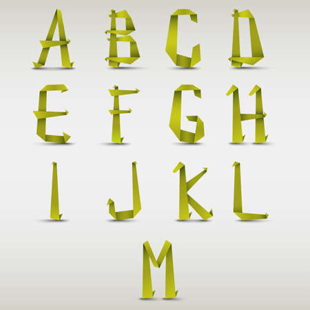 green paper: Alphabet folded green paper template vector