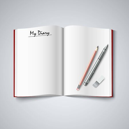 atypical: Blank diary were pages and pencil vector Illustration