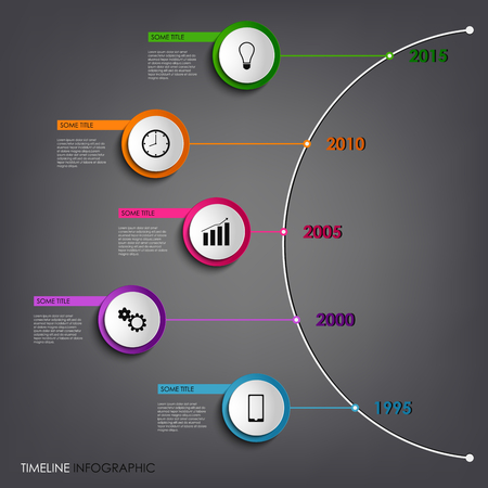 time line: Time line info graphic colored abstract round template vector