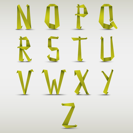 green paper: Alphabet folded green paper abstract template vector