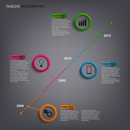 time line: Time line info graphic with round pointers template vector