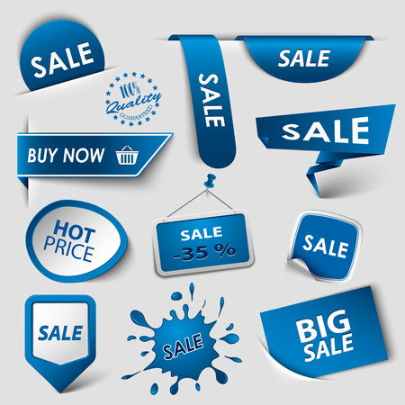 atypical: Collection web blue pointers labels for shopping vector eps 10 Illustration