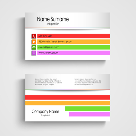 atypical: Modern business card with colored stripes template vector eps 10